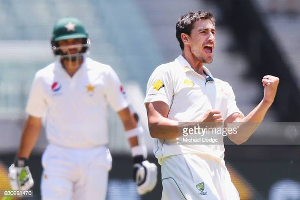 Mitchell Starc of Australia celebrates the wicket of Babar Azam of Pakistan during day five of the Second Test match between Australia and Pakistan...