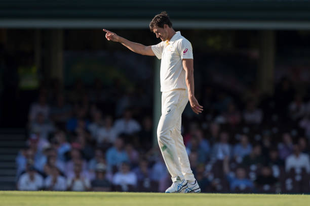 Mitchell Starc of Australia celebrates the wicket of England's Joe Root after he was dismissed for 83 runs caught by Mitch Marshduring day one of the...