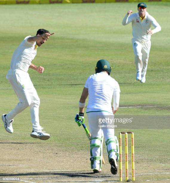 Mitchell Starc of Australia celebrates the wicket of Faf du Plessis of the Proteas during day 2 of the 1st Sunfoil Test match between South Africa...