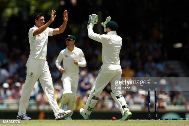 Mitchell Starc of Australia celebrates the wicket of Jonny Bairstow of England during day two of the Third Test match during the 2017/18 Ashes Series...
