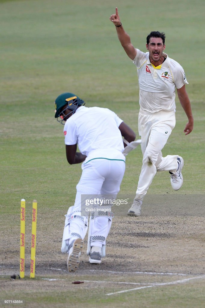 Mitchell Starc of Australia celebrates the wicket of Kagiso Rabada of the Proteas during day 4 of the 1st Sunfoil Test match between South Africa and Australia at Sahara Stadium Kingsmead on March 04, 2018 in Durban, South Africa.