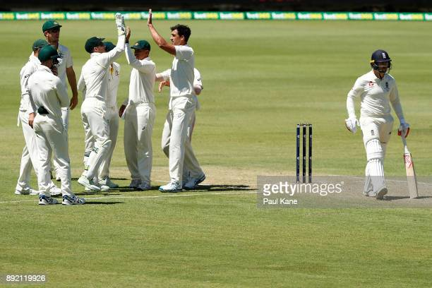 Mitchell Starc of Australia celebrates the wicket of Mark Stoneman of England during day one of the Third Test match of the 2017/18 Ashes Series...