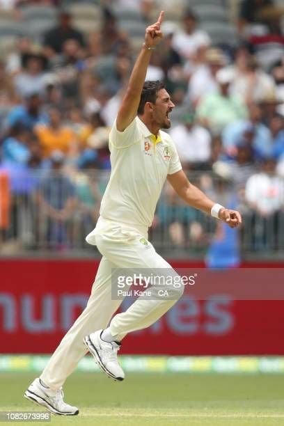 Mitchell Starc of Australia celebrates the wicket of Murali Vijay of India during day two of the second match in the Test series between Australia...