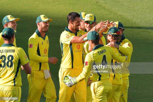 Mitchell Starc of Australia celebrates with Adam Zampa of Australia during game two of the One Day International series between Australia and South...