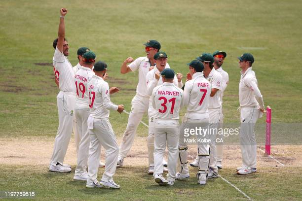 Mitchell Starc of Australia celebrates with his team mates after taking the wicket Tom Latham of New Zealand during day four of the Third Test Match...
