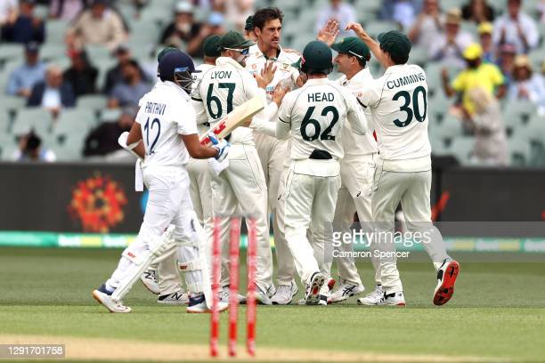 Mitchell Starc of Australia celebrates with team mates after taking the wicket of Prithvi Shaw of India for a duck during day one of the First Test...