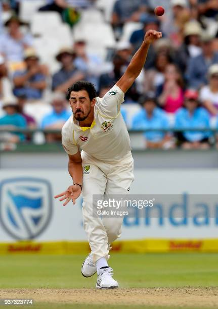 Mitchell Starc of Australia during day 3 of the 3rd Sunfoil Test match between South Africa and Australia at PPC Newlands on March 24 2018 in Cape...