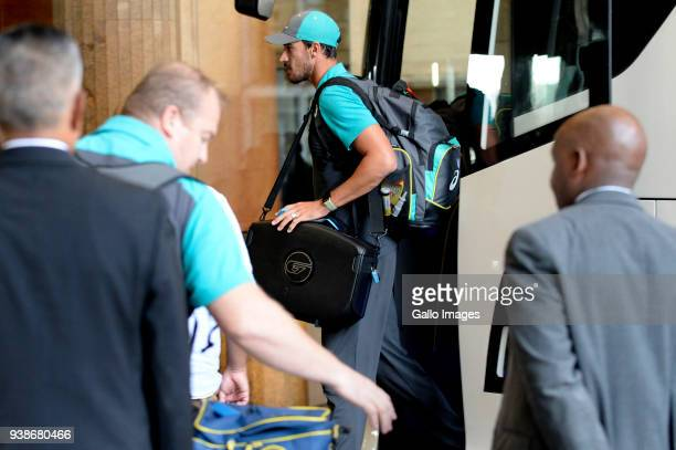 Mitchell Starc of Australia during the Australian Cricket team arrival at Sandton Towers hotel on March 27 2018 in Johannesburg South Africa