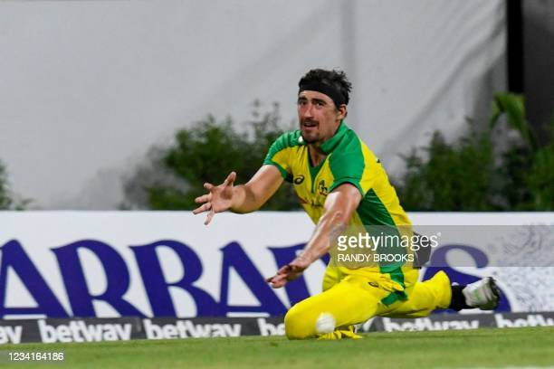 Mitchell Starc of Australia fields during the 2nd ODI between West Indies and Australia at Kensington Oval, Bridgetown, Barbados, on July 24, 2021.