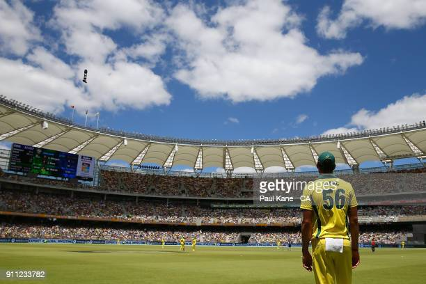 Mitchell Starc of Australia fields on the boundary during game five of the One Day International match between Australia and England at Perth Stadium...