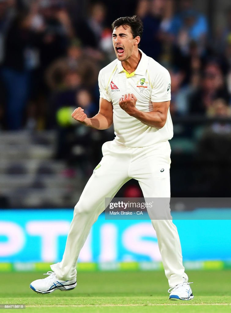 Mitchell Starc of Australia gets the wicket of Mark Stoneman of England LBW during day two of the Second Test match during the 2017/18 Ashes Series between Australia and England at Adelaide Oval on December 3, 2017 in Adelaide, Australia.