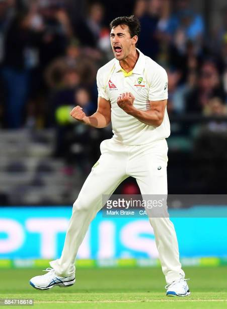 Mitchell Starc of Australia gets the wicket of Mark Stoneman of England LBW during day two of the Second Test match during the 2017/18 Ashes Series...