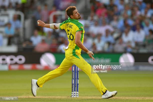 Mitchell Starc of Australia in action during the Group Stage match of the ICC Cricket World Cup 2019 between New Zealand and Australia at Lords on...