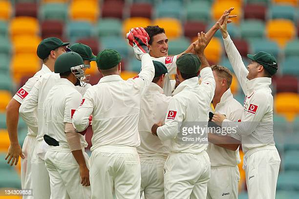 Mitchell Starc of Australia is congratulated by his team mates after taking his first ever test wicketduring day one of the First Test match between...
