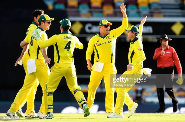 Mitchell Starc of Australia is congratulated by team mates after taking the wicket of Jason Roy of England during game two of the One Day...