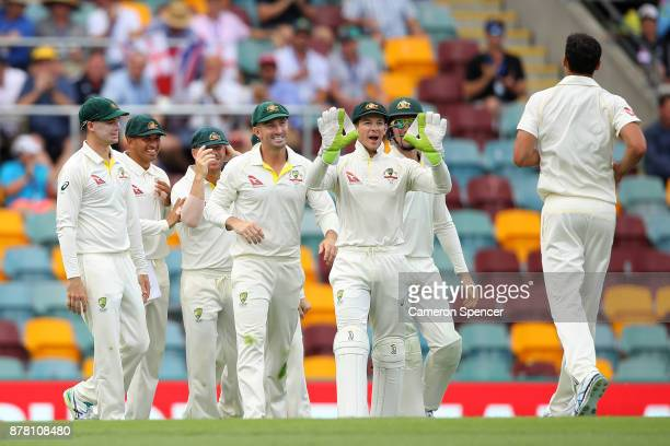 Mitchell Starc of Australia is congratulated by Tim Paine and team mates after dismissing Jake Ball of England during day two of the First Test Match...