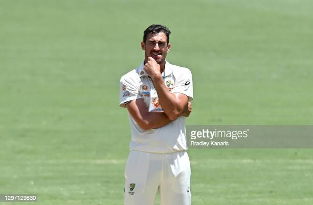 Mitchell Starc of Australia looks frustrated during day five of the 4th Test Match in the series between Australia and India at The Gabba on January...