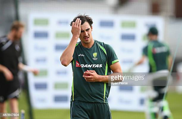 Mitchell Starc of Australia looks on during a nets session ahead of the 4th Investec Ashes Test match between England and Australia at Trent Bridge...