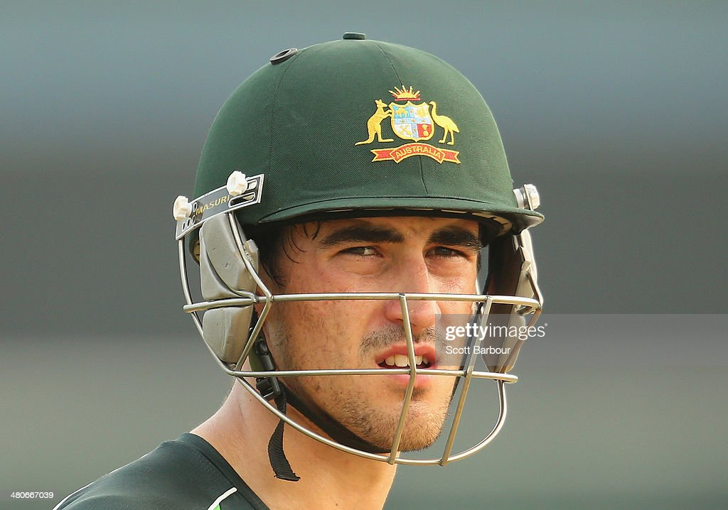 Mitchell Starc of Australia looks on during an Australian ICC World Twenty20 Bangladesh 2014 training session at Khan Saheb Osman Ali Stadium on March 26, 2014 in Narayanganj, Bangladesh.