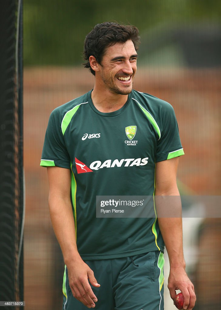 Mitchell Starc of Australia looks on during an Australian Nets Session at The County Ground on August 12, 2015 in Northampton, England.