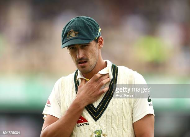 Mitchell Starc of Australia looks on during day five of the Third Test match during the 2017/18 Ashes Series between Australia and England at WACA on...
