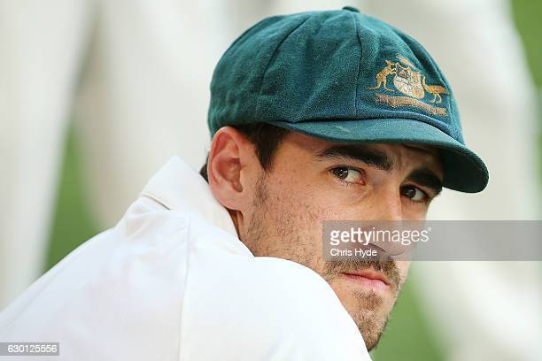 Mitchell Starc of Australia looks on during day three of the First Test match between Australia and Pakistan at The Gabba on December 17 2016 in...