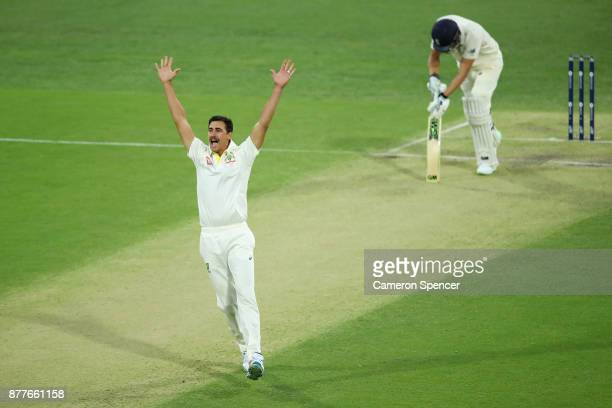 Mitchell Starc of Australia makes an unsuccessful lbw appeal during day one of the First Test Match of the 2017/18 Ashes Series between Australia and...