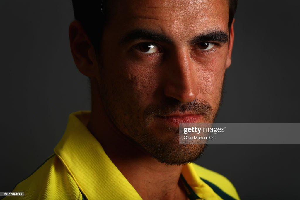 Mitchell Starc of Australia poses during a portrait session ahead of the ICC Champions Trophy at the Royal Garden Hotel on May 24, 2017 in London, England.
