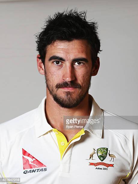 Mitchell Starc of Australia poses during an Australian Cricket Team Ashes portrait session on June 1 2015 in Roseau Dominica