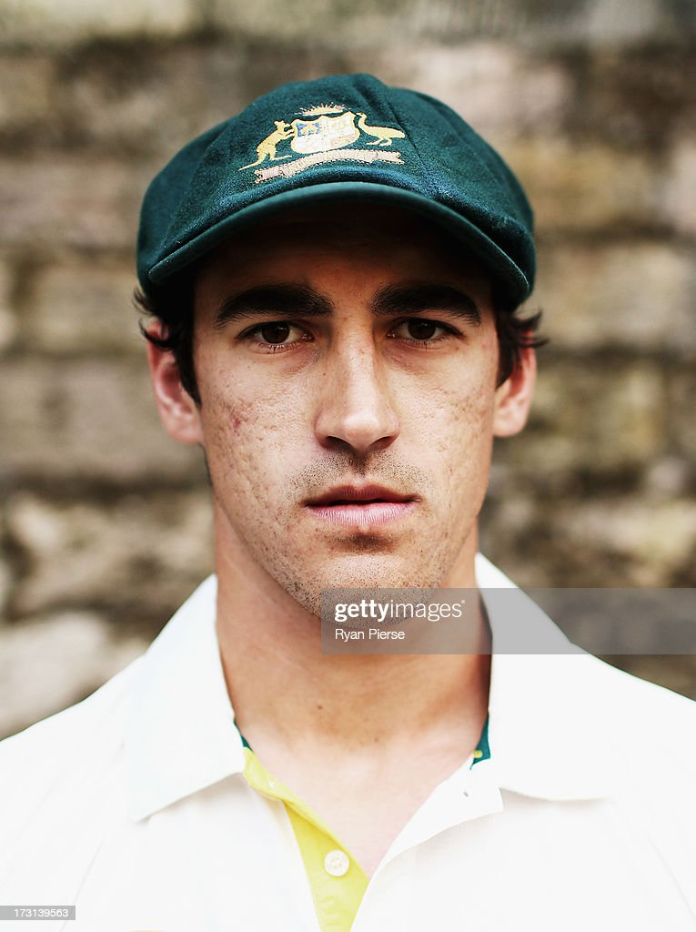 Mitchell Starc of Australia poses during an Australian Fast Bowlers Portrait Session at Nottingham Castle on July 8, 2013 in Nottingham, England.