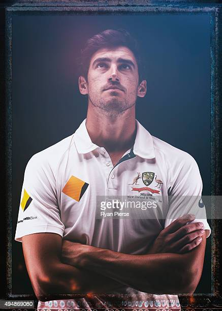 Mitchell Starc of Australia poses during an Australian Test Cricket Portrait Session on October 19 2015 in Sydney Australia