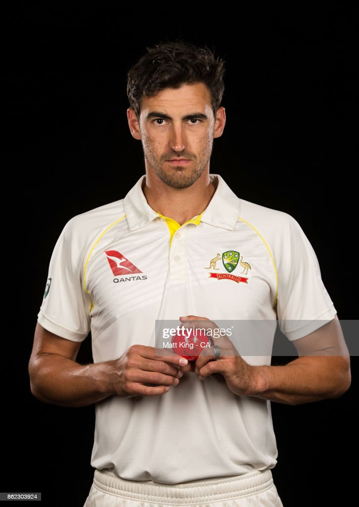 Mitchell Starc of Australia poses during the Australia Test cricket team portrait session at Intercontinental Double Bay on October 15, 2017 in Sydney, Australia.