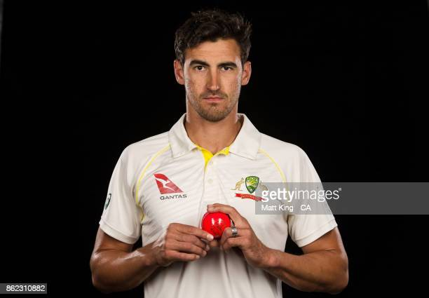 Mitchell Starc of Australia poses during the Australia Test cricket team portrait session at Intercontinental Double Bay on October 15 2017 in Sydney...