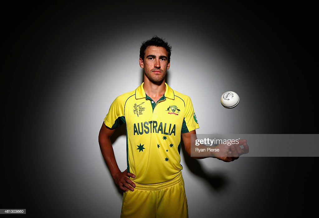 Mitchell Starc of Australia poses during the Australian 2015 Cricket World Cup squad announcement at Museum of Contemporary Art on January 11, 2015 in Sydney, Australia.