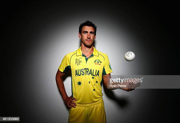 Mitchell Starc of Australia poses during the Australian 2015 Cricket World Cup squad announcement at Museum of Contemporary Art on January 11 2015 in...