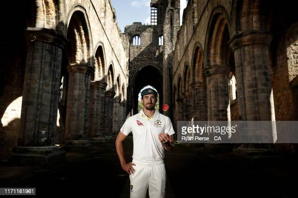 Mitchell Starc of Australia poses during the PlayCricket Australian Men's Team UK Content Capture at Kirkstall Abbey on August 20, 2019 in Leeds,...