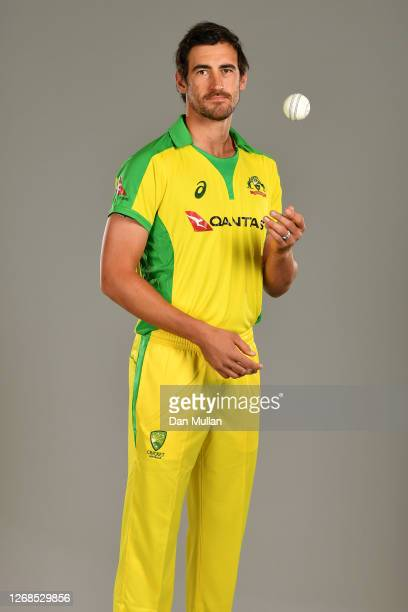 Mitchell Starc of Australia poses for a portrait during the Australia Cricket Portrait Session at The County Ground on August 25, 2020 in Derby,...