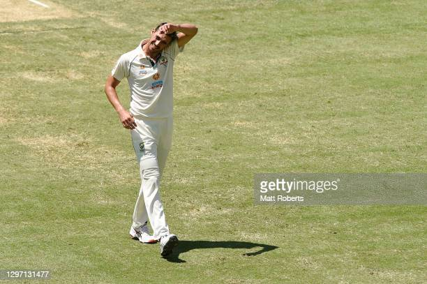 Mitchell Starc of Australia prepares to bowl during day five of the 4th Test Match in the series between Australia and India at The Gabba on January...