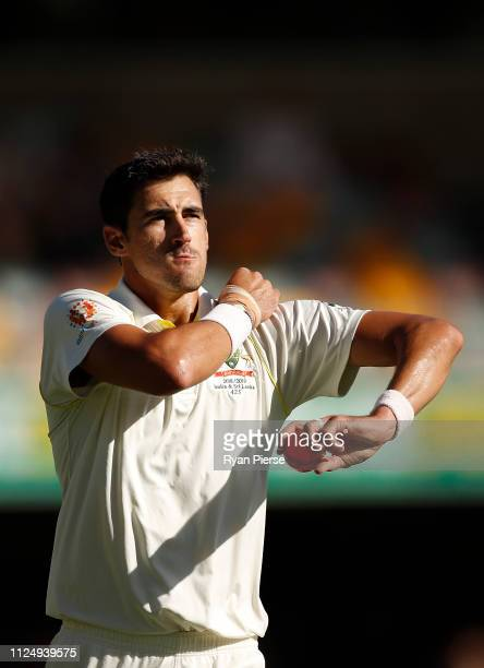 Mitchell Starc of Australia prepares to bowl during day three of the First Test match between Australia and Sri Lanka at The Gabba on January 26 2019...