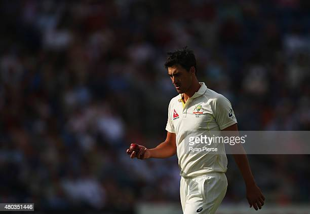 Mitchell Starc of Australia prepares to bowl during day three of the 1st Investec Ashes Test match between England and Australia at SWALEC Stadium on...