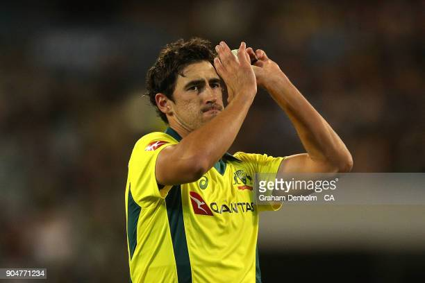 Mitchell Starc of Australia prepares to bowl during game one of the One Day International Series between Australia and England at Melbourne Cricket...