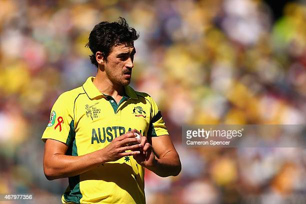 Mitchell Starc of Australia prepares to bowl during the 2015 ICC Cricket World Cup final match between Australia and New Zealand at Melbourne Cricket...