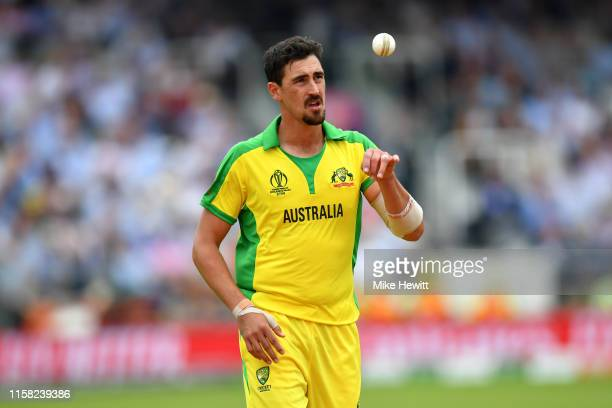 Mitchell Starc of Australia prepares to bowl during the Group Stage match of the ICC Cricket World Cup 2019 between England and Australia at Lords on...