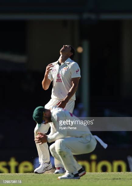 Mitchell Starc of Australia reacts after Tim Paine of Australia dropped a catch from a shot from Hanuma Vihari of India during day five of the 3rd...