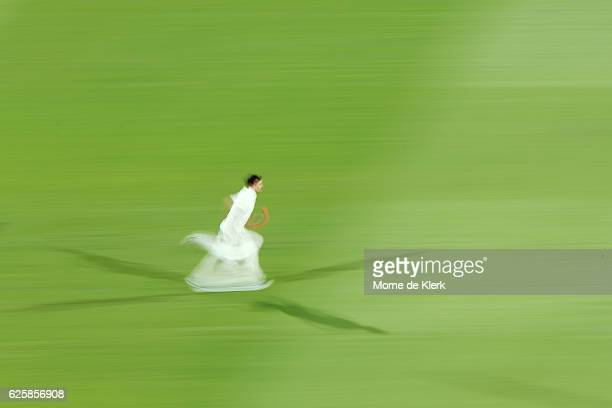 Mitchell Starc of Australia runs in to bowl during day three of the Third Test match between Australia and South Africa at Adelaide Oval on November...