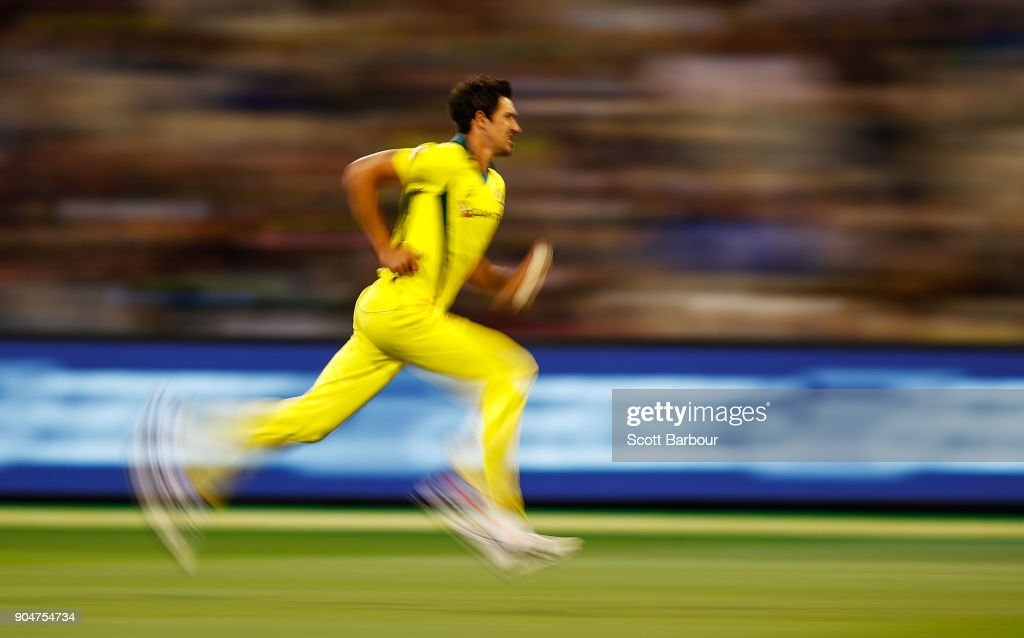 Mitchell Starc of Australia runs in to bowl during game one of the One Day International Series between Australia and England at Melbourne Cricket Ground on January 14, 2018 in Melbourne, Australia.