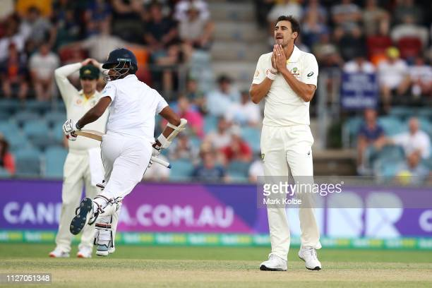 Mitchell Starc of Australia shows his frustration during day three of the Second Test match between Australia and Sri Lanka at Manuka Oval on...