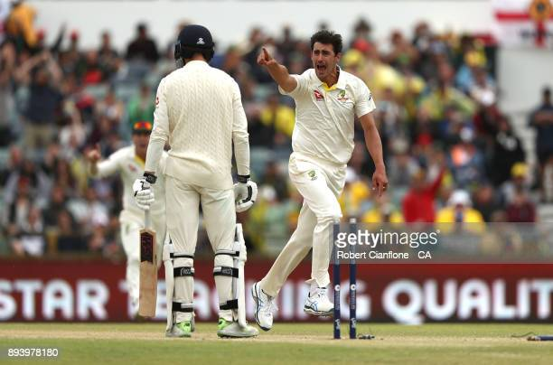 Mitchell Starc of Australia takes the wicket of James Vince of England during day four of the Third Test match during the 2017/18 Ashes Series...