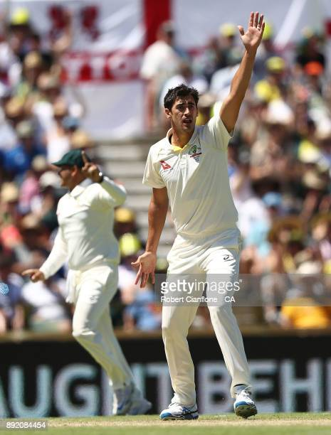 Mitchell Starc of Australia takes the wicket of Mark Stoneman of England during day one of the Third Test match of the 2017/18 Ashes Series between...