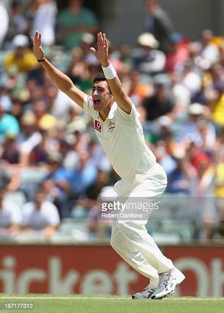 Mitchell Starc of Australia unsuccessfully appeals for the wicket of Alviro Petersen of South Africa during day one of the Third Test Match between...